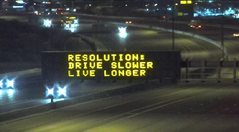 Dynamic Message Sign: Resolution: Drive Slower Live Longer