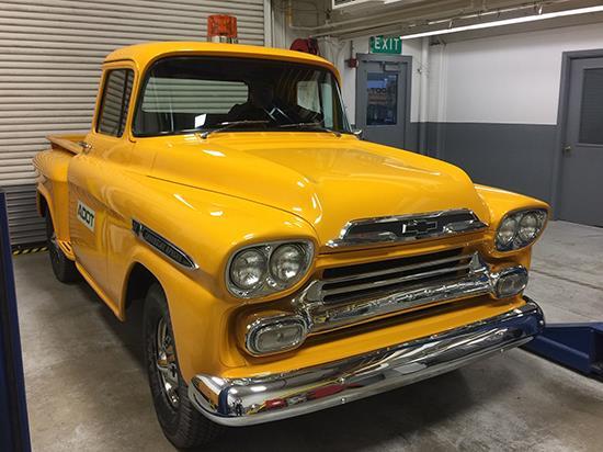Yellow 1959 Chevrolet Apache pickup