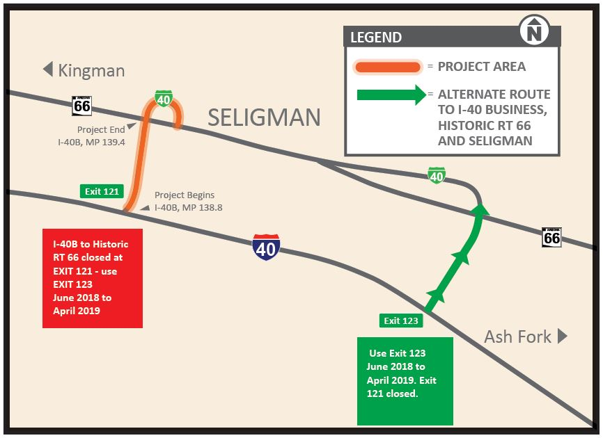 Map of project area near Seligman, I-10 and Historic Route 66