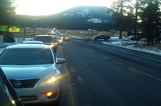 Winter traffic near Flagstaff.