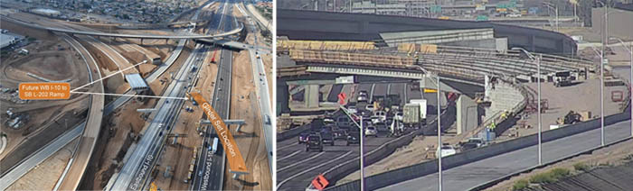 Two views of work on South Mountain Freeway overpass