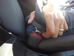 Male hand buckling a seat belt