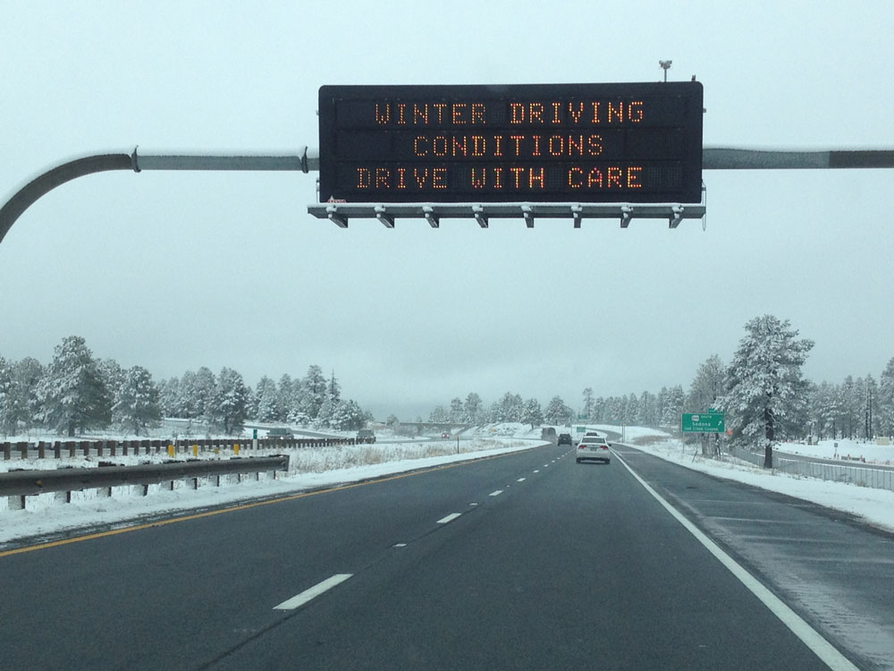 Dynamic Message Sign: Winter Driving Conditions Drive with Care
