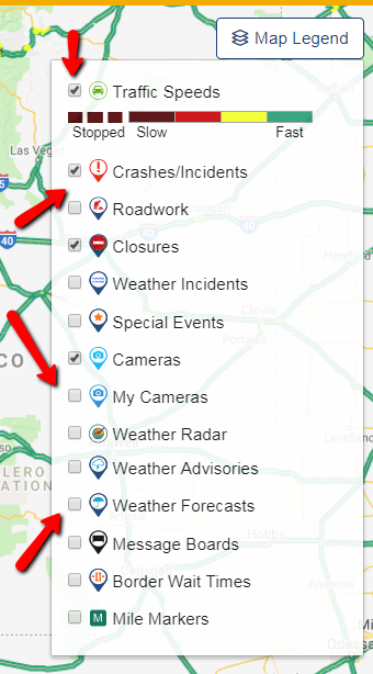 AZ511 interactive map legend.