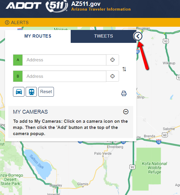 AZ511 interactive map with Tweet routes pop up.