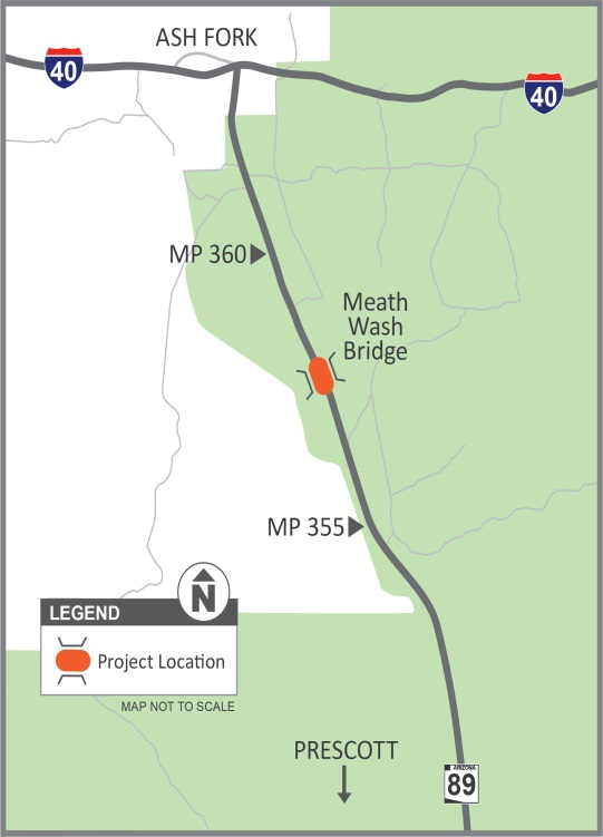 Project map for Meath Wash bridge replacement on State Route 89 south of Ash Fork