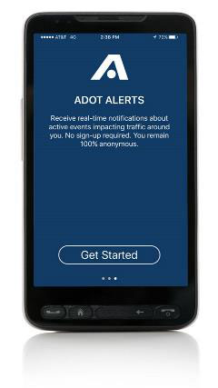 ADOT Alerts App on a phone