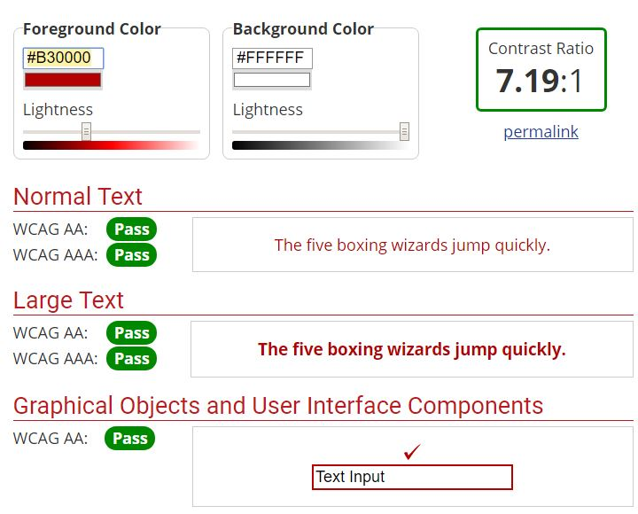 screen shot from the ADA Contrast Checker