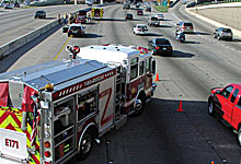 First responders at accident on freeway