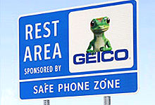 Rest Area Sign Sponsored by Geico - Safe Phone Zone