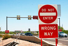 Wrong Way sign on a freeway entrance