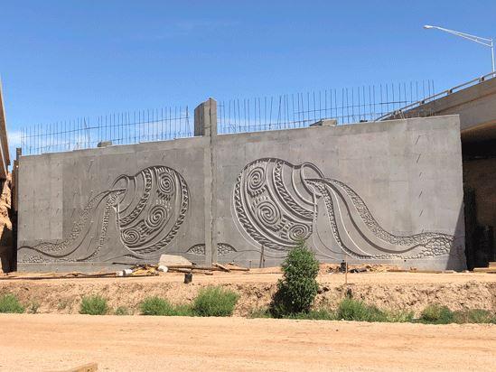 Pot designs on the overpass walls near Eloy