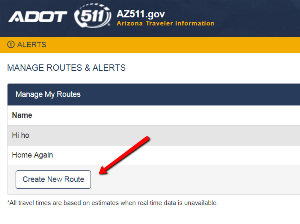 AZ511 application Manage Routes & Alerts with arrow to Create New Route.