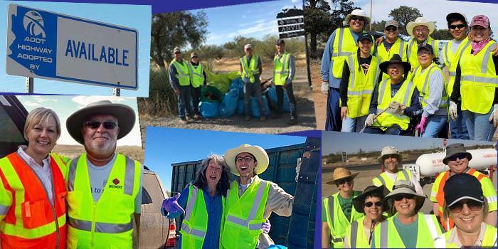 Six photos of Adopt a Highway volunteers