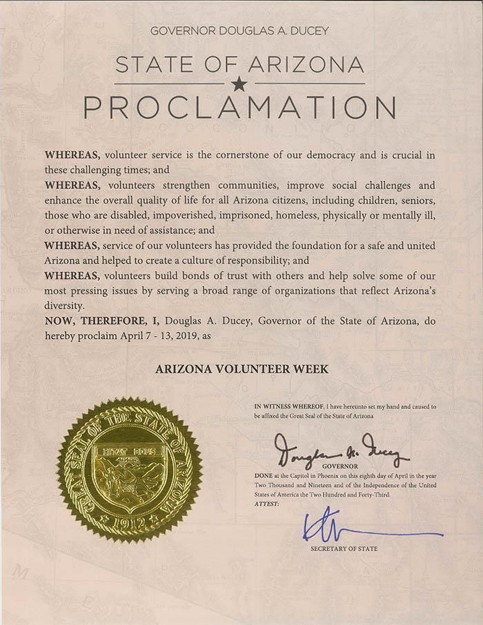 Arizona Volunteer Week Proclamation