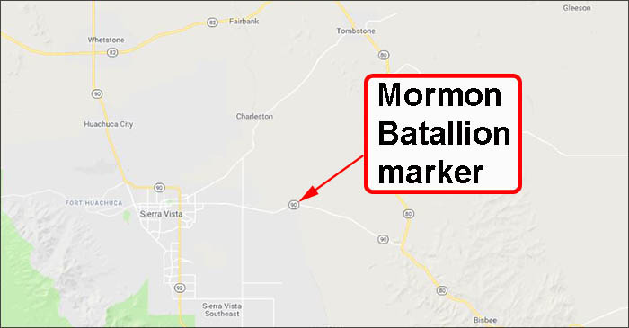 Map to Monument marker along State Route 90, Mormon Battalion Campsite