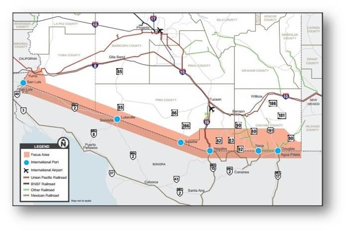 Map of Arizona border area of responsibility