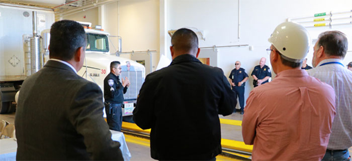 International Border Inspection Qualification instructors and students in truck bay