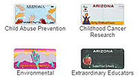 Examples of specialty license plates - Child Abuse Prevention, Childhood Cancer Research, Environmental, and Extroidinary Educators