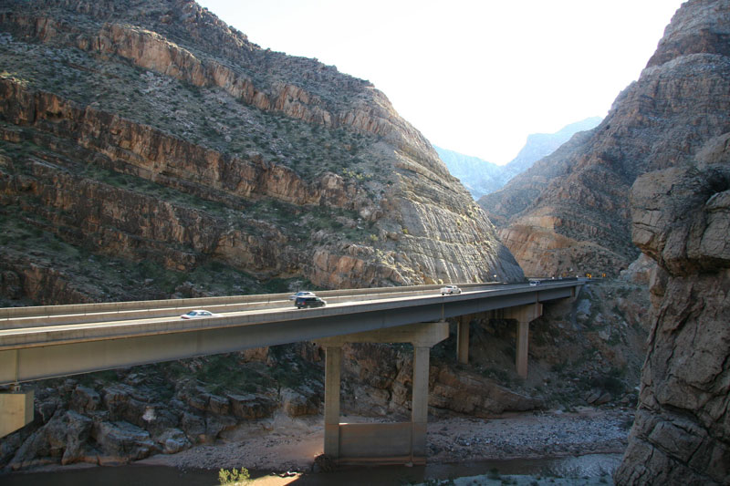 Mike O'Callaghan-Pat Tillman bridge above the Colorado River at the Nevada state line.