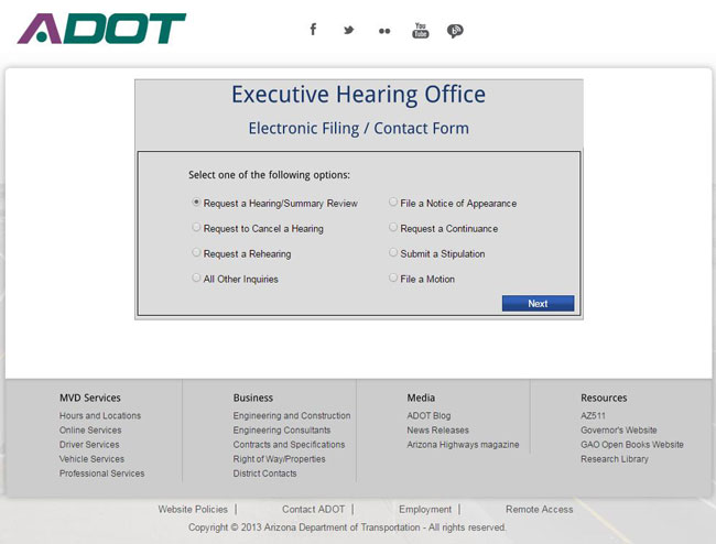 Screenshot of the Executive Hearing Office Electronic Filing/Contact Form