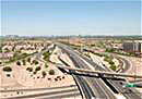 Aerial view of valley freeway interchange