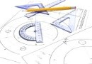 Protractors and pencil on set of plans