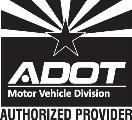 ADOT Motor Vehicle Divisions Authorized Provider Logo in Black and White