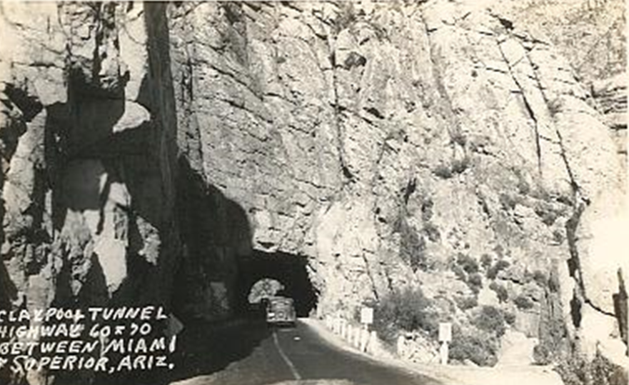 Archive photo of Claypool tunnel on the road between Miami and Superior