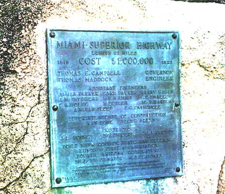 Archive photo of Miami to Superior Highway plaque