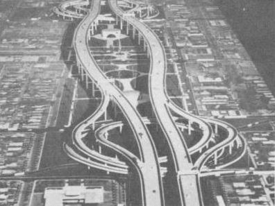 Archive photo of freeway section with Helicoil traffic interchange