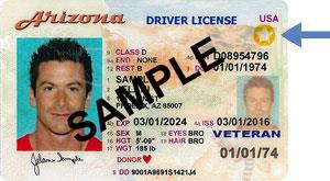 AZ Driver License Sample Travel ID with arrow
