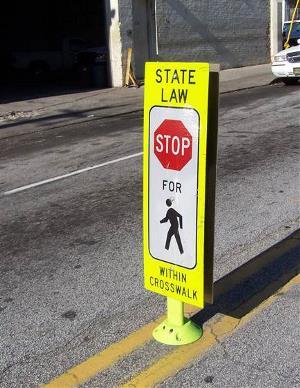 Example of In-street Pedestrian Crosswalk sign