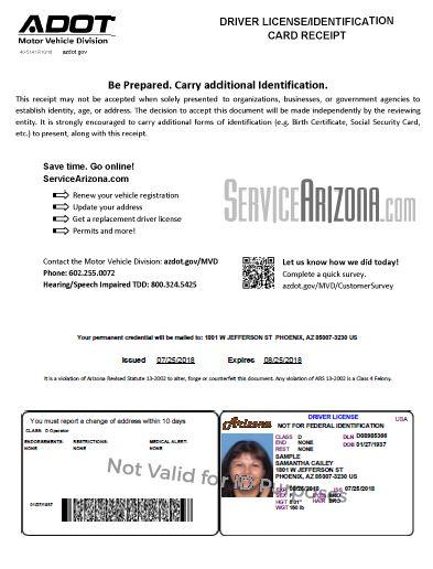 Temporary Credential Receipt