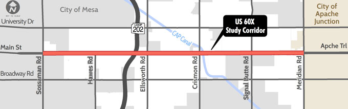 US 60X Main Street Study Corridor map