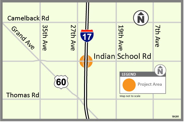 I-17: Indian School Road Traffic Interchange Study Map