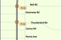 Interstate 17 map Bell Rd and Thunderbird Rd