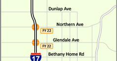 Interstate 17 map Northern Ave and Glendale Ave