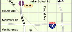 Interstate 17 map Indian School Rd