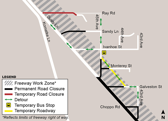 Closure Map - Center Segment - Loop 202 (South Mountain Freeway)