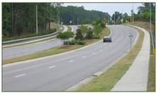 Example of Four Lane with Raised Median; Photo courtesy of FHWA