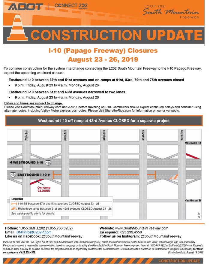 Construction Update - I-10 (Papago Freeway) - August 23-26, 2019