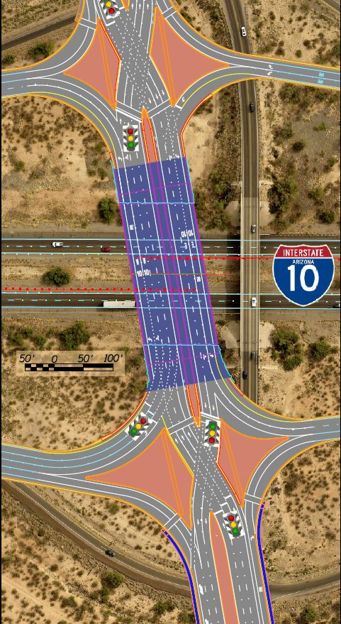 Diverging Diamond Traffic Interchange layout map