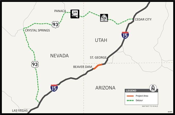 I-15 Bridges 2-4-5 Detour Map