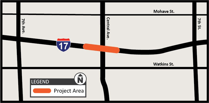 I-17: Central Avenue Bridge Replacement Study Map