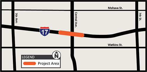 map of I-17 central ave bridge project