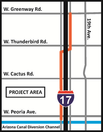 map of I-17 Frontage Road Drainage Improvement: Greenway Road to Peoria Avenue