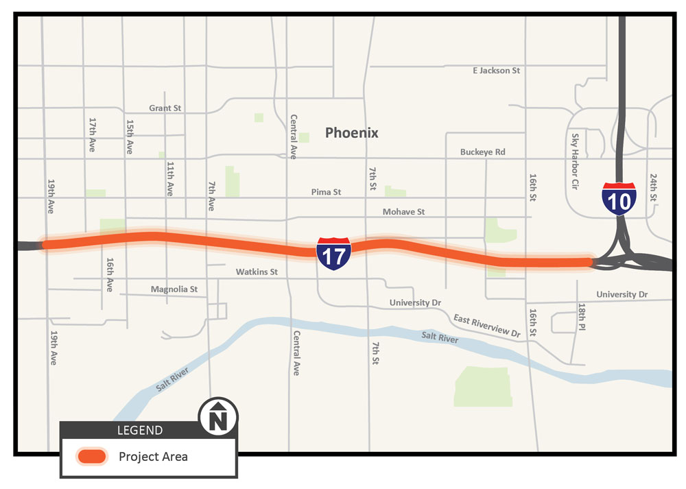 Interstate-17 Near-Term Auxiliary Lane Study Map