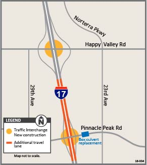 I-17 TI Reconstruction Happy Valley and Pinnacle Peak map