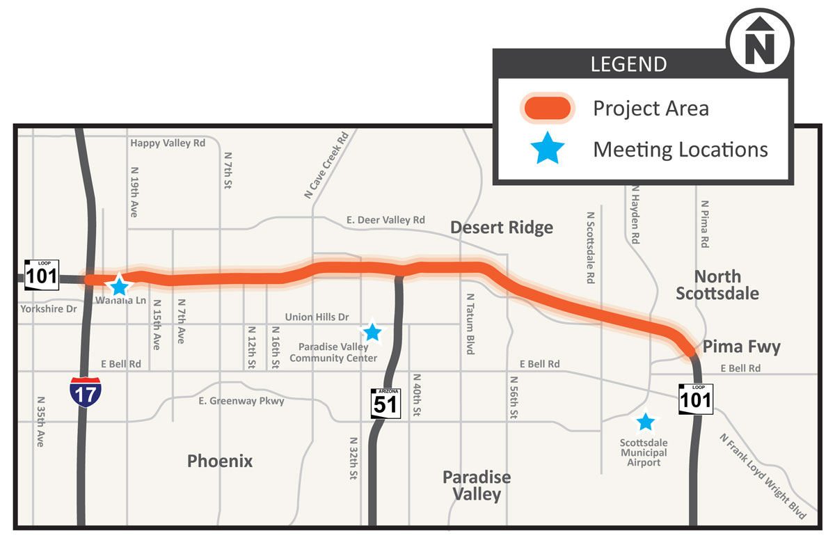 Loop 101 Widening Study: Interstate 17 to Pima Road Study map